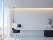 Σύγχρονο γραπτό λειτουργώντας δωμάτιο με θάλασσας τρισδιάστατη δίνοντας εικόνα ύφους άποψης τη μινιμαλιστική Στοκ Εικόνες
