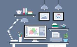 Σύγχρονο γραφείο με το σύνολο, τα έγγραφα και τα χαρτικά υπολογιστών Workpla Στοκ Φωτογραφία
