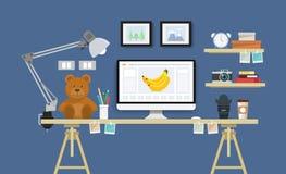 Σύγχρονο γραφείο με το σύνολο, τα έγγραφα και τα χαρτικά υπολογιστών Στοκ Εικόνα