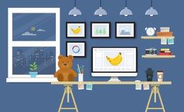 Σύγχρονο γραφείο με το σύνολο, τα έγγραφα και τα χαρτικά υπολογιστών Workpla Στοκ Εικόνες