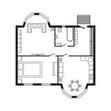 Σύγχρονο γραφείων αρχιτεκτονικό πρόγραμμα σχεδίων σχεδίου επίπλων και κατασκευής σχεδίων εσωτερικό Στοκ Φωτογραφία