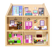 Σύγχρονο γραφικό χαριτωμένο σπίτι στην περικοπή Λεπτομερές ζωηρόχρωμο διανυσματικό εσωτερικό σπιτιών Μοντέρνα δωμάτια με τα έπιπλ