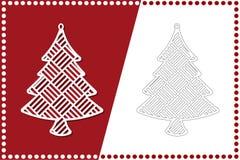 σύγχρονο δέντρο Χριστου&gam Παιχνίδι του νέου έτους για την κοπή λέιζερ επίσης corel σύρετε το διάνυσμα απεικόνισης απεικόνιση αποθεμάτων