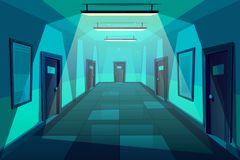 Σύγχρονο διάνυσμα κινούμενων σχεδίων διαδρόμων γραφείων τη νύχτα διανυσματική απεικόνιση