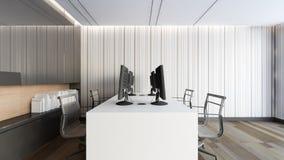 Σύγχρονο λειτουργώντας δωμάτιο με το μαύρο γραφείο/την τρισδιάστατη απόδοση Στοκ Εικόνες