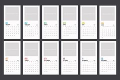 Σύγχρονο ελάχιστο κάθετο πρότυπο ημερολογιακών αρμόδιων για το σχεδιασμό για το 2018 Διανυσματικό editable πρότυπο σχεδίου απεικόνιση αποθεμάτων