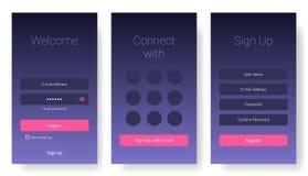 Σύγχρονο ενδιάμεσο με τον χρήστη του κινητού τηλεφώνου app Διανυσματική απεικόνιση