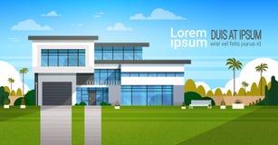 Σύγχρονο εξωτερικό σπιτιών εξοχικών σπιτιών, έμβλημα οικοδόμησης βιλών με το διάστημα αντιγράφων ελεύθερη απεικόνιση δικαιώματος