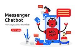 Σύγχρονο επίπεδο σχέδιο έννοιας αγγελιοφόρων chatbot Εικονικός βοηθός ελεύθερη απεικόνιση δικαιώματος