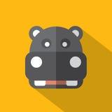 Σύγχρονο επίπεδο εικονίδιο Hippopotamus σχεδίου Στοκ Φωτογραφία