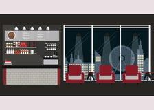 Σύγχρονο επίπεδο εσωτερικό καφετεριών σχεδίου ελεύθερη απεικόνιση δικαιώματος