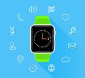 Σύγχρονο επίπεδο πράσινο smartwatch με app τα εικονίδια στο μπλε υπόβαθρο Στοκ Εικόνες