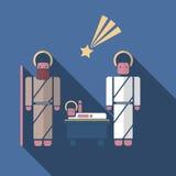 Σύγχρονο επίπεδο ύφος Nativity scenein απεικόνιση αποθεμάτων