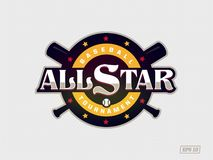 Σύγχρονο επαγγελματικό έμβλημα όλο το αστέρι για το παιχνίδι μπέιζ-μπώλ στο κίτρινο θέμα ελεύθερη απεικόνιση δικαιώματος