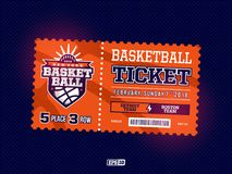Σύγχρονο επαγγελματικό σχέδιο των εισιτηρίων καλαθοσφαίρισης στο πορτοκαλί θέμα Στοκ Εικόνες