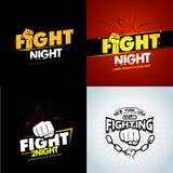 4 σύγχρονο επαγγελματικό σχέδιο λογότυπων προτύπων αφισών πάλης με απομονωμένες τις πυγμή διανυσματικές απεικονίσεις απεικόνιση αποθεμάτων