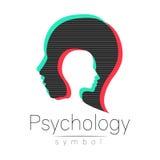Σύγχρονο επικεφαλής σημάδι της ψυχολογίας Άνθρωπος σχεδιαγράμματος Επίδραση δυσλειτουργίας Σύμβολο στο διάνυσμα Έννοια σχεδίου Επ Στοκ Εικόνα