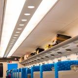 Σύγχρονο εσωτερικό βαγονιών εμπορευμάτων τραίνων, Κιότο, Ιαπωνία Διάστημα αντιγράφων για το κείμενο διάνυσμα κειμένων απεικόνισης Στοκ Εικόνα