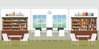 Σύγχρονο εσωτερικό βιβλιοθηκών με τα ράφια Στοκ Φωτογραφίες