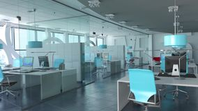 Σύγχρονο εσωτερικό γραφείων σε ένα υψηλό κτήριο ανόδου ελεύθερη απεικόνιση δικαιώματος