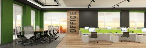 Σύγχρονο εσωτερικό γραφείων υπολογιστών με τις ξύλινες εμφάσεις και μια όμορφη άποψη ελεύθερη απεικόνιση δικαιώματος
