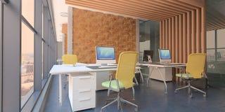 Σύγχρονο εσωτερικό γραφείων υπολογιστών με τις ξύλινες εμφάσεις και μια όμορφη άποψη απεικόνιση αποθεμάτων
