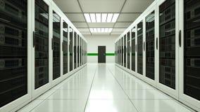 Σύγχρονο εσωτερικό δωματίων κεντρικών υπολογιστών στο datacenter, το δίκτυο Ιστού και την τεχνολογία τηλεπικοινωνιών Διαδικτύου,  απόθεμα βίντεο