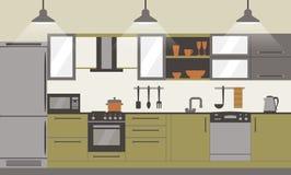 Σύγχρονο εσωτερικό επίπεδο σχέδιο κουζινών με τα εγχώρια έπιπλα και kithenware Μπροστινή όψη επίσης corel σύρετε το διάνυσμα απει Στοκ Εικόνες