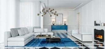 Σύγχρονο εσωτερικό καθιστικό σχεδίου με τις μπλε εμφάσεις απεικόνιση αποθεμάτων
