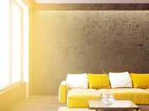 Σύγχρονο εσωτερικό καθιστικών με τον καναπέ και τα μαξιλάρια, τραπεζάκι σαλονιού, χλεύη επάνω, τρισδιάστατη απόδοση στοκ φωτογραφία με δικαίωμα ελεύθερης χρήσης