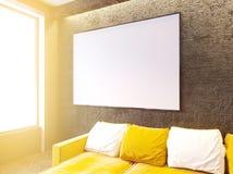 Σύγχρονο εσωτερικό καθιστικών με τον καναπέ και τα μαξιλάρια, τραπεζάκι σαλονιού, χλεύη επάνω, τρισδιάστατη απόδοση στοκ εικόνα
