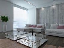 Σύγχρονο εσωτερικό καθιστικών με το συμπαγή τοίχο διανυσματική απεικόνιση