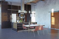 Σύγχρονο εσωτερικό κουζινών σοφιτών Στοκ Φωτογραφία