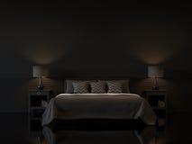 Σύγχρονο εσωτερικό κρεβατοκάμαρων με την κενή μαύρη τρισδιάστατη απόδοση τοίχων ελεύθερη απεικόνιση δικαιώματος
