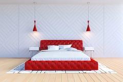Σύγχρονο σύγχρονο εσωτερικό κρεβατοκάμαρων στο άσπρο και κόκκινο χρώμα διανυσματική απεικόνιση