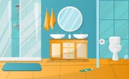 Σύγχρονο εσωτερικό λουτρών με την καμπίνα ντους Έπιπλα λουτρών - η στάση με δύο νεροχύτες, πετσέτες, υγρό σαπούνι, roundl αντανακ απεικόνιση αποθεμάτων