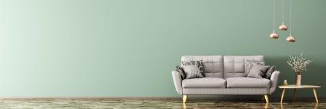 Σύγχρονο εσωτερικό με την τρισδιάστατη απόδοση πανοράματος καναπέδων Στοκ Εικόνες