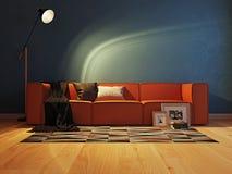 Σύγχρονο εσωτερικό με την τρισδιάστατη απόδοση καναπέδων Στοκ φωτογραφία με δικαίωμα ελεύθερης χρήσης