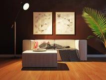Σύγχρονο εσωτερικό με την τρισδιάστατη απόδοση καναπέδων Στοκ Εικόνες