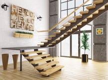 Σύγχρονο εσωτερικό με την τρισδιάστατη απόδοση σκαλών Στοκ Εικόνες