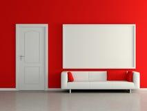 Σύγχρονο εσωτερικό με τον καναπέ, κόκκινος τοίχος, ζωγραφική. τρισδιάστατος. Στοκ Φωτογραφία