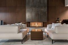 Σύγχρονο εσωτερικό με τον ξύλινο τοίχο και την καίγοντας εστία στοκ φωτογραφία