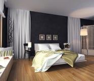 Σύγχρονο εσωτερικό μιας κρεβατοκάμαρας με ένα κρεβάτι και ένα κάλυμμα ελεύθερη απεικόνιση δικαιώματος