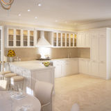 Σύγχρονο εσωτερικό σπιτιών κουζινών στοκ εικόνες