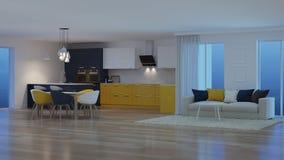 Σύγχρονο εσωτερικό σπιτιών με την κίτρινη κουζίνα νύχτα Φωτισμός βραδιού ελεύθερη απεικόνιση δικαιώματος