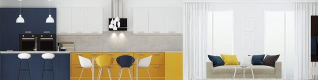 Σύγχρονο εσωτερικό σπιτιών με την κίτρινη κουζίνα τρισδιάστατη απόδοση ελεύθερη απεικόνιση δικαιώματος