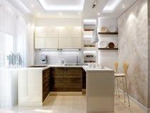 Σύγχρονο εσωτερικό σχέδιο κουζινών με τις άσπρες και ξύλινες προσόψεις Στοκ Φωτογραφίες