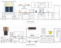Σύγχρονο εσωτερικό της κουζίνας και του λουτρού Έπιπλα και εξαρτήματα Διανυσματική απεικόνιση σε ένα γραμμικό ύφος διανυσματική απεικόνιση