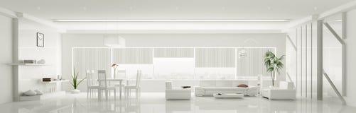 Σύγχρονο εσωτερικό του άσπρου πανοράματος διαμερισμάτων τρισδιάστατου Στοκ Εικόνες