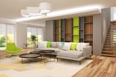 Σύγχρονο εσωτερικό του καθιστικού με την κουζίνα σε ένα σπίτι ή το διαμέρισμα στα γκρίζα χρώματα με τις πράσινες εμφάσεις απεικόνιση αποθεμάτων